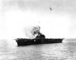 Yorktown stopped and burning, just after 1200, 4 Jun 1942