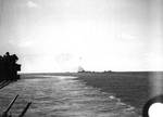 Pensacola observed as disabled Yorktown was surrounded by escorts, just after noon, 4 Jun 1942, photo 1 of 2