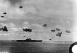 Two B5N Type 97 torpedo bombers flew by carrier Yorktown and destroyer Morris, 4 Jun 1942, photo 1 of 2