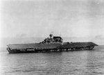 Yorktown listing heavily after abandonment, 4 Jun 1942