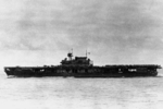 USS Yorktown underway between 0630 and 0730 hours on 4 Jun 1942; note SBD aircraft next to and forward of the island and TBD-1 aircraft to the aft