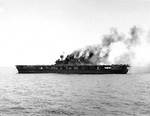 Yorktown dead in the water, about 1300, 4 Jun 1942
