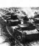 Single turret 7TP light tanks on the move, circa 1935-1938