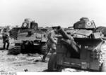 Germans inspecting captured French S35 medium tanks, France, May or Jun 1940