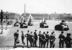 Parade of German PzKpfw 35 S 739(f) medium tanks (captured French AMC 35 S tanks) at the Avenue des Champs-Élysées, Paris, France, Jul 1941