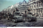 German parade of captured French AMC 35 S medium tanks and H35 light tanks, Paris, France, 1941