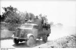 Kfz. 305 Blitz truck transporting German troops, Italy, 1944
