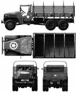 Technical drawing of GMC CCKW 2 1/2-ton 6x6 open cab long wheel base transport without winch, 1943 or later