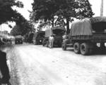 Convoy of US Army CCKW 2 1/2 ton 6x6 cargo trucks, probably in the United States during training, date unknown