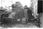 Scuttled French Char B1 heavy tank in Beaumont, Belgium, 16 May 1940, photo 1 of 2
