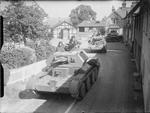 Cruiser Mk IV tanks of British 3rd Royal Tank Regiment in a village in East Anglia, England, United Kingdom, 3 Sep 1940