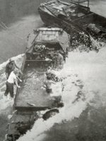 DUKW being swamped in heavy surf, date unknown