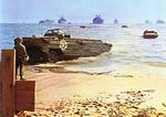 US Army DUKW landing on a beach in southern France, 1944, photo 1 of 3