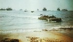 US Army DUKW landing on a beach in southern France, 1944, photo 2 of 3