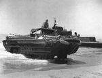 US Army DUKW loaded with oil drums coming ashore at Gela, Sicily, Italy, Jul 1943
