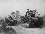 American troops with FT-17 light tanks moving toward the Argonne Forest, France, 26 Sep 1918