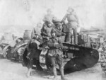 Japanese tank crew with FT tanks, date unknown
