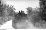 German Grille self-propelled gun traveling on a road, Italy, 1944