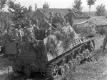 Troops of the of the Westminster Regiment, 5th Canadian Armoured Brigade posing on a disabled Hornisse/Nashorn tank destroyer near Pontecorvo, Italy, 26 May 1944