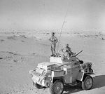 A Humber Mk II armoured car of the UK 12th Royal Lancers on patrol south of El Alamein, Egypt, Jul 1942