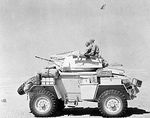 A Humber Mk II armoured car of the UK 12th Royal Lancers on patrol in the Western Desert, Egypt, 10 Aug 1942
