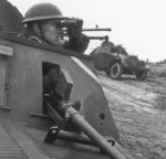 Humber Light Reconnaissance Cars Mk II of 29th Independent Squadron of British Reconnaissance Corps at Shanklin, Isle of Wight, England, United Kingdom, 5 Mar 1942, photo 2 of 2; note Mk II helmet