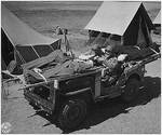 An improvised jeep ambulance at a training camp in Camp Carson, Colorado, United States, 24 Apr 1943