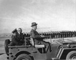 US President Franklin D Roosevelt surveying troops on Malta in Dwight Eisenhower