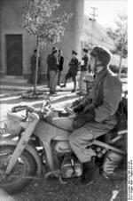 German paratrooper with a KS750 motorcycle, Italy, Sep 1943
