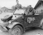 Members of the US 15th Army Air Force getting ready for some Rest and Recreation in a captured German Kübelwagen vehicle, Germany, 1945