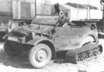 Experimental Type 155 Kübelwagen half-track during testing, date unknown; this type never went into production as the design lost more usefulness than it gained