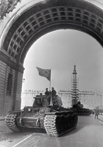 Soviet KV-1 tanks on parade at the Palace Square in Leningrad, Russia, 1 May 1942