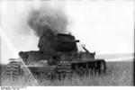 KV-1 heavy tank burning, Russia, Jun 1942