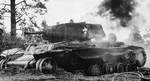 Destroyed Soviet KV-1 tank in Aunus, Karelia, Russia, Sep 1941