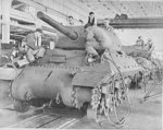 M10 tank destroyer under construction in a General Motors factory in the United States, Mar 1943