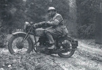 British Army dispatch rider on a BSA M20 motorcycle, date unknown