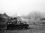 A M19 Twin 40mm Gun Motor Carriage firing at a Chinese position in Korea, date unknown