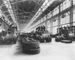 Men working on M3 tanks at the Detroit Arsenal Tank Plant, Warren, Michigan, United States, circa 1940-1942