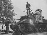US Army maintenance crew washing a M3 Lee medium tank, Fort Knox, Kentucky, United States, Jun 1942