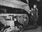 M2 Half-track vehicles under construction, Diebold Safe and Lock Company factory, Canton, Ohio, United States, Dec 1941, photo 1 of 4