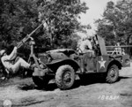 37 mm Gun M3 mounted aboard a M6 Gun Motor Carriage, with additional .50 cal machine gun attached, 3 miles west of Watertown, Tennessee, United States, 6 Jun 1943