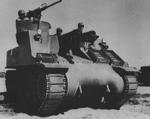 M7 self-propelled artillery vehicle being tested for desert warfare at Iron Mountains, California, United States, circa 1940, photo 1 of 2