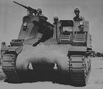 M7 self-propelled artillery vehicle being tested for desert warfare at Iron Mountains, California, United States, circa 1940, photo 2 of 2