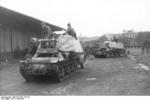 Recently arrived Marder I tank destroyers being prepared by German soldiers, Belgium or France, 1943-1944