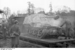 Unloading a Marder I tank destroyer from a train car, Belgium or France, 1943-1944, photo 02 of 10