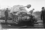 Unloading a Marder I tank destroyer from a train car, Belgium or France, 1943-1944, photo 03 of 10