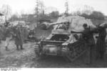 Unloading a Marder I tank destroyer from a train car, Belgium or France, 1943-1944, photo 04 of 10