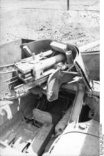 Close-up view of a PaK 40 gun mounted on a Marder II tank destroyer, Kharkov, Ukraine, early 1943, photo 3 of 7