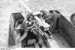 Close-up view of a PaK 40 gun mounted on a Marder II tank destroyer, Kharkov, Ukraine, early 1943, photo 7 of 7