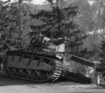 Neubaufahrzeug tank on the side of a road in Norway, Apr-May 1940